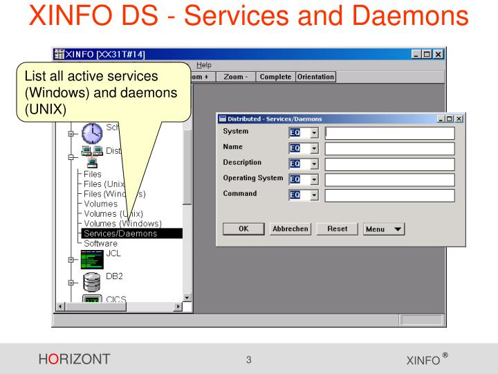 Xinfo ds services and daemons