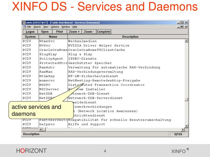 XINFO DS - Services and Daemons