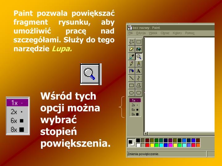 Paint pozwala powiększać fragment rysunku, aby umożliwić pracę nad szczegółami. Służy do tego narzędzie