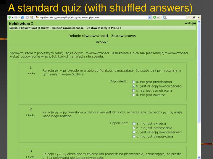 A standard quiz (with shuffled answers)