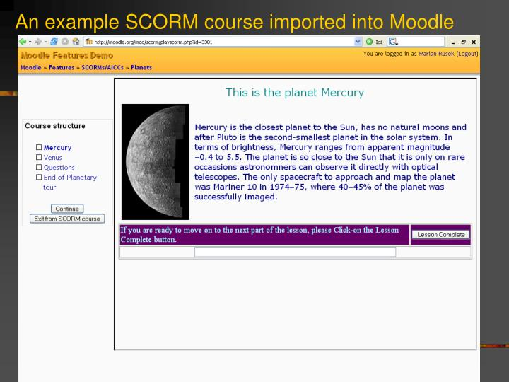 An example SCORM course imported into Moodle