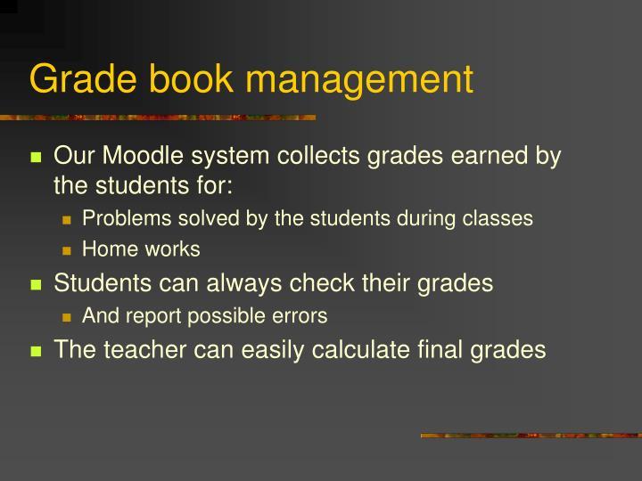 Grade book management