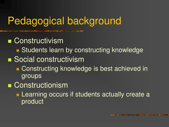 Pedagogical background