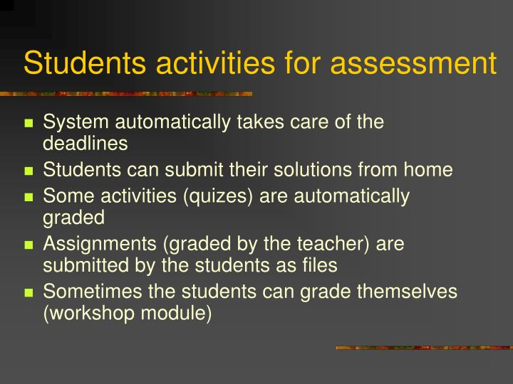 Students activities for assessment
