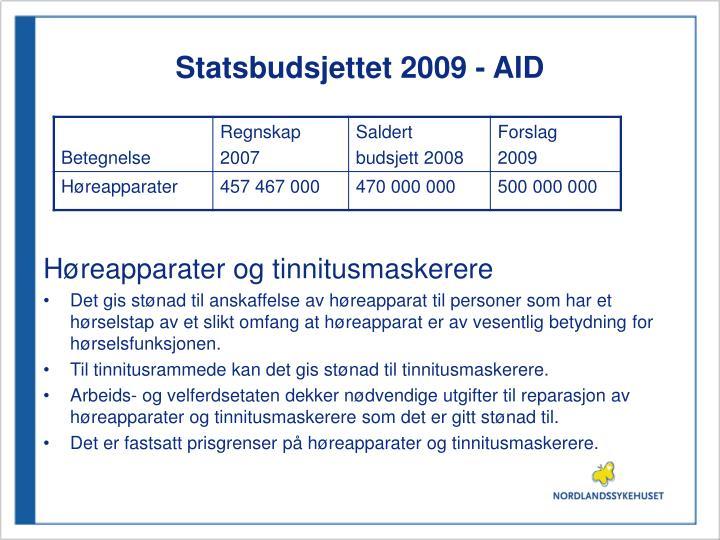 Statsbudsjettet 2009 - AID