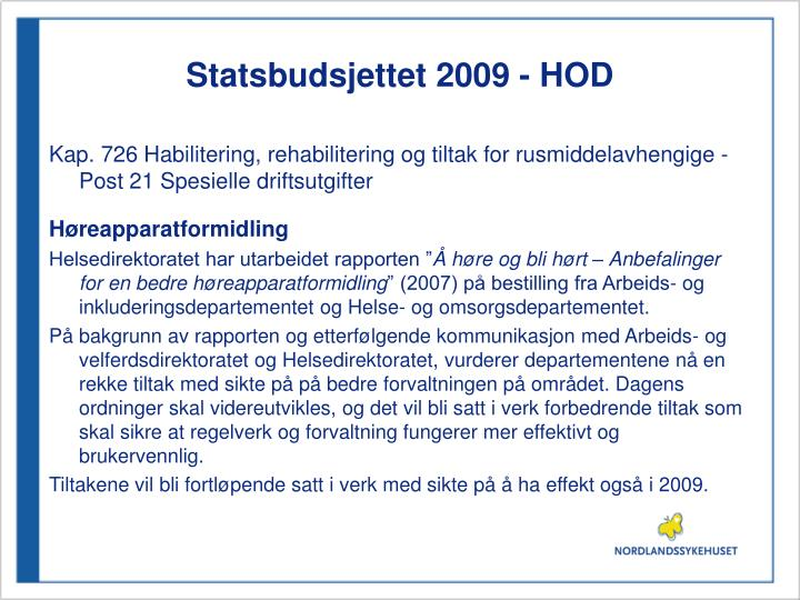 Statsbudsjettet 2009 - HOD