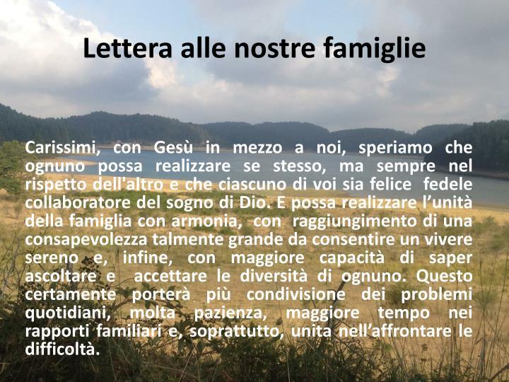 Lettera alle nostre famiglie