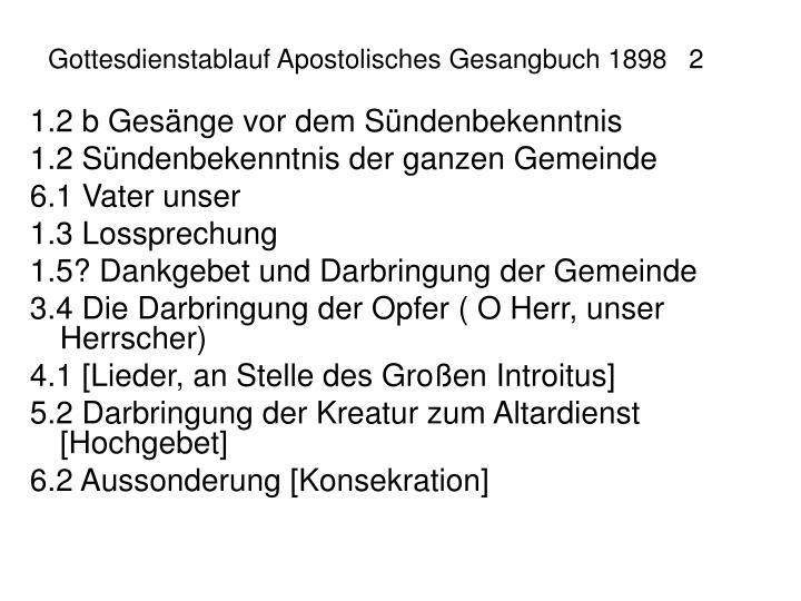Gottesdienstablauf Apostolisches Gesangbuch 18982