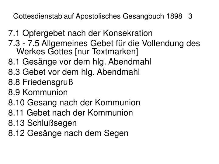 Gottesdienstablauf Apostolisches Gesangbuch 18983