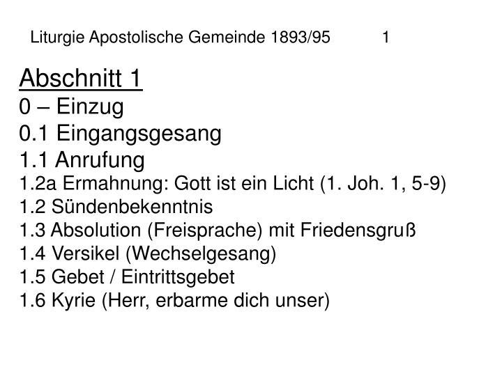 Liturgie Apostolische Gemeinde 1893/951