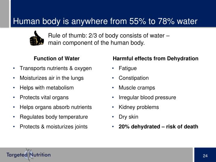 Human body is anywhere from 55% to 78% water