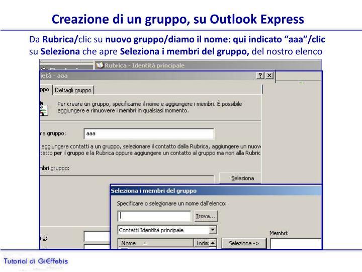 Creazione di un gruppo, su Outlook Express