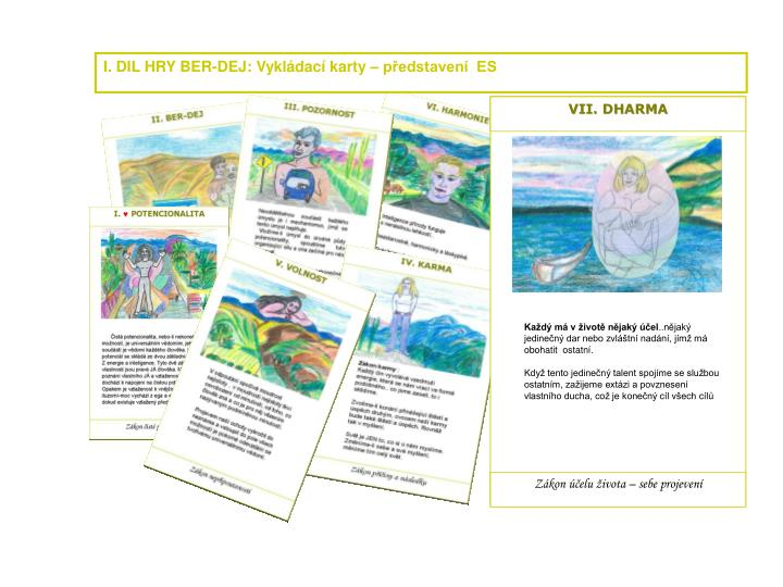 I. DIL HRY BER-DEJ: Vykládací karty – představení  ES