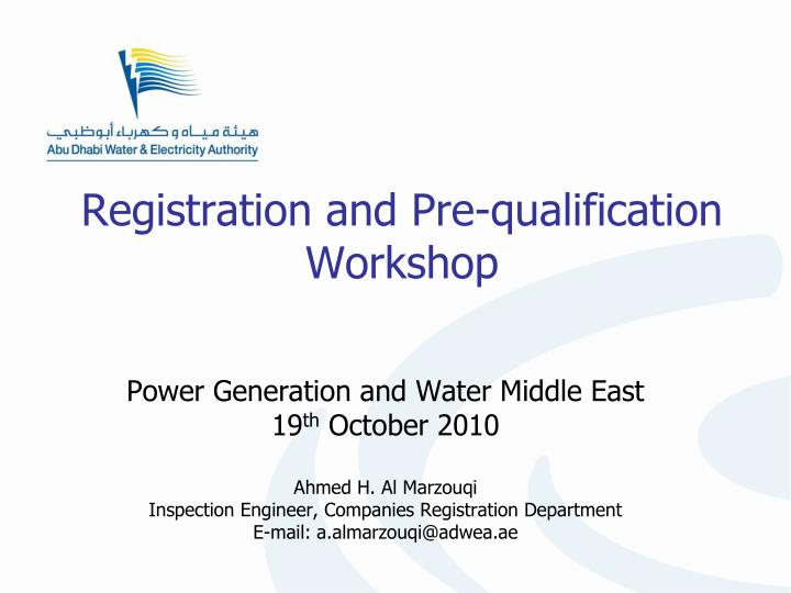 Registration and Pre-qualification