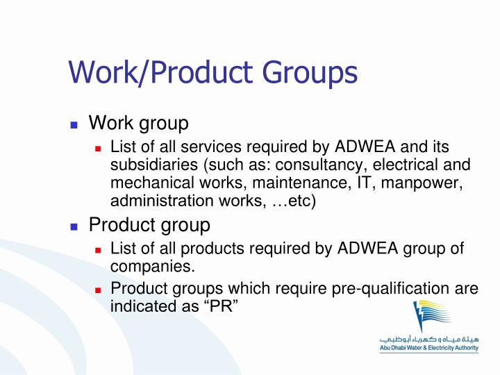 Work/Product Groups
