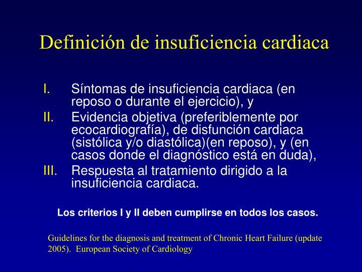 Definición de insuficiencia cardiaca