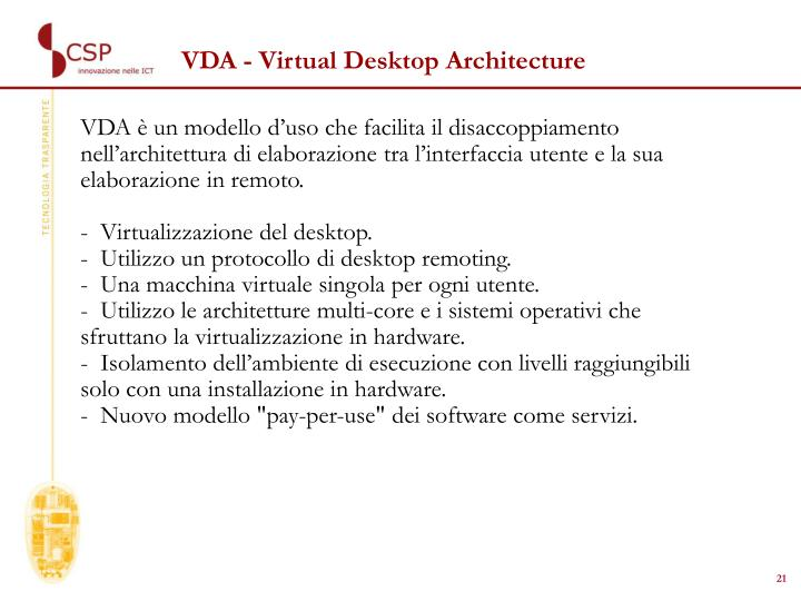 VDA - Virtual Desktop Architecture
