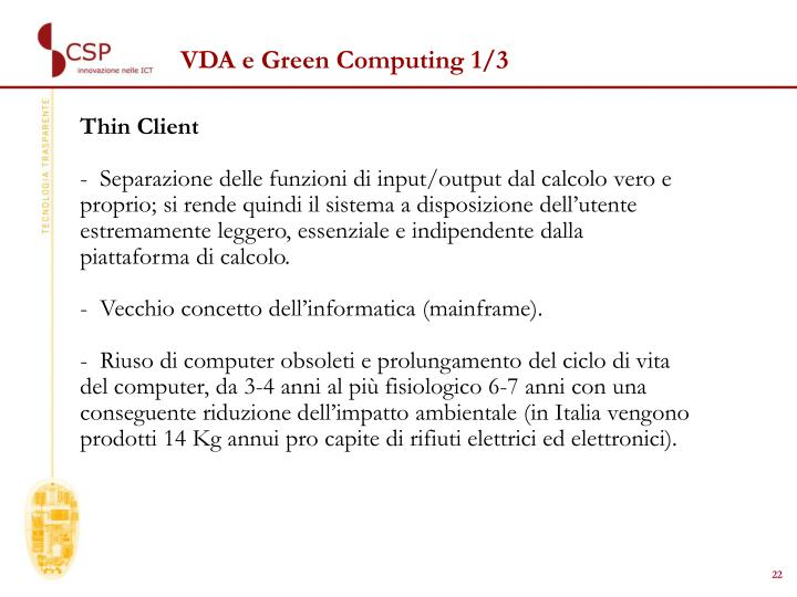VDA e Green Computing 1/3
