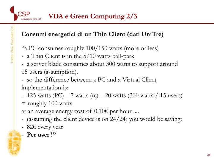 VDA e Green Computing 2/3