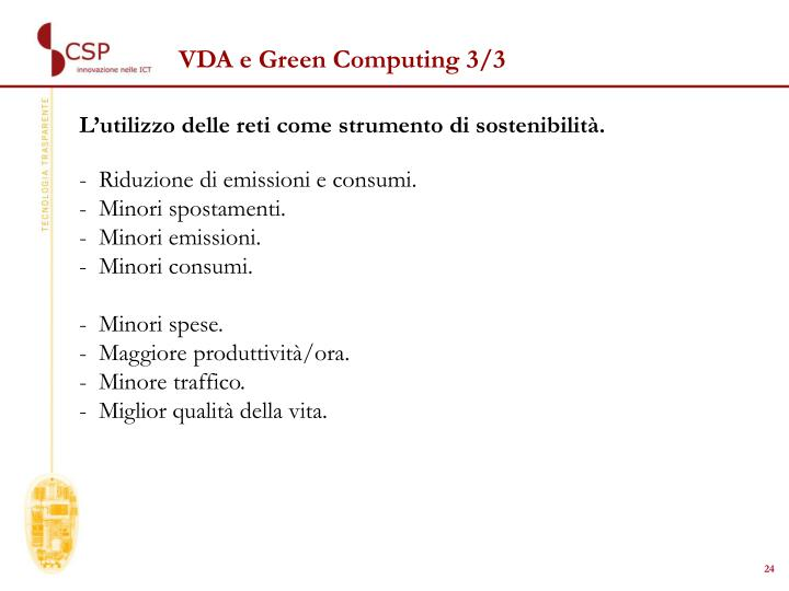 VDA e Green Computing 3/3
