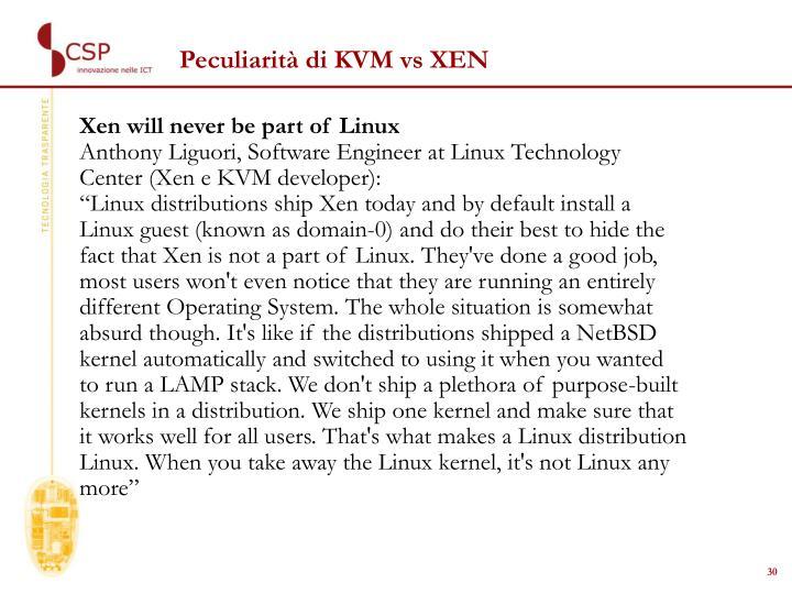 Peculiarità di KVM vs XEN
