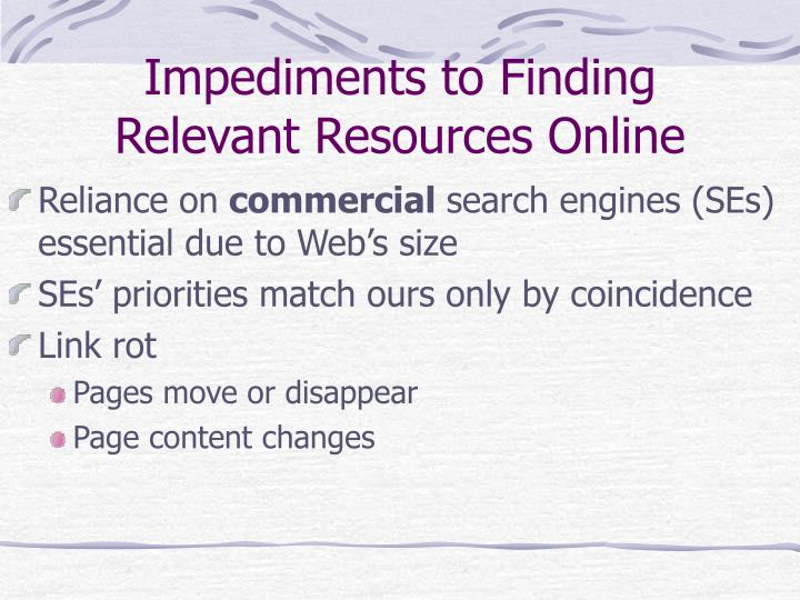 Impediments to Finding Relevant Resources Online