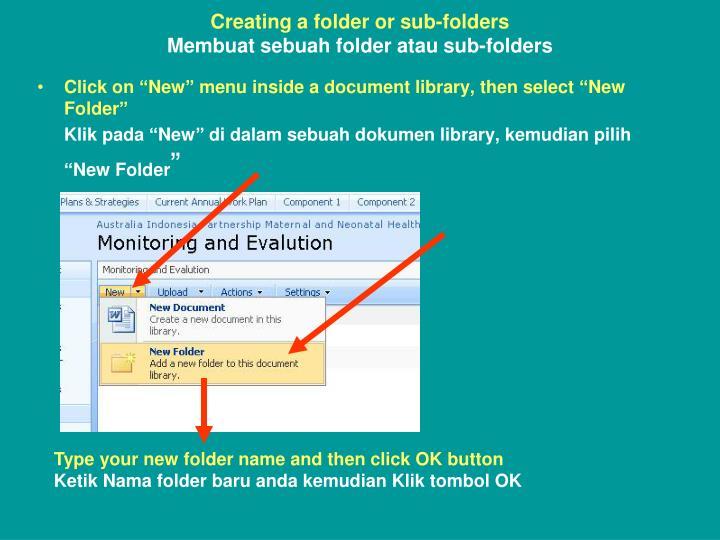 Creating a folder or sub-folders