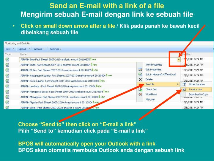 Send an E-mail with a link of a file