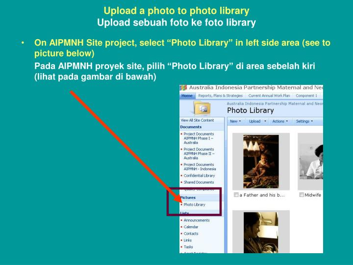 Upload a photo to photo library