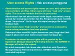 user access rights hak access pengguna1
