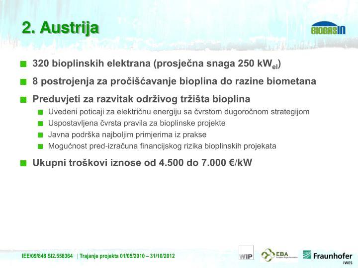 320 bioplinskih elektrana (prosječna snaga 250 kW