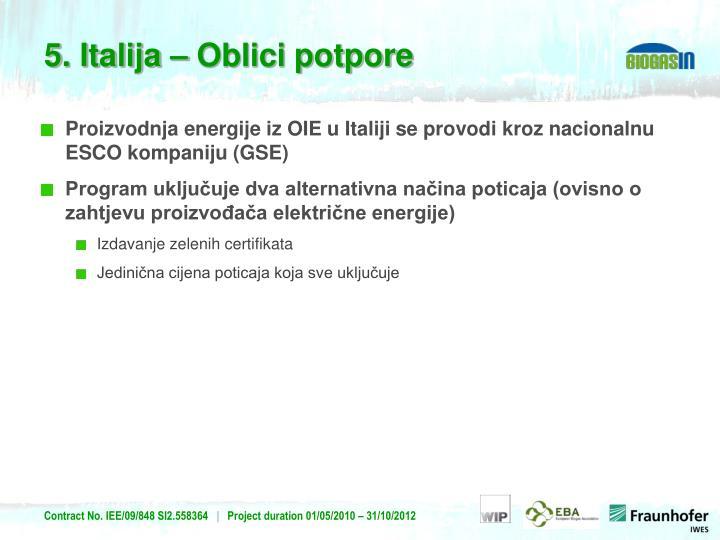 Proizvodnja energije iz OIE u Italiji se provodi kroz nacionalnu ESCO kompaniju (GSE)