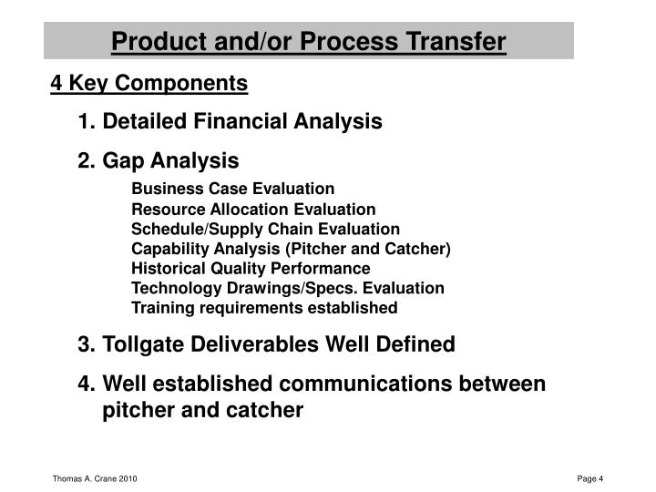 Product and/or Process Transfer