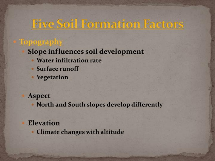 Five Soil Formation Factors