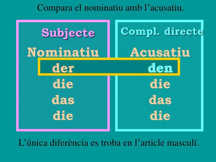 Compara el nominatiu amb l'acusatiu.