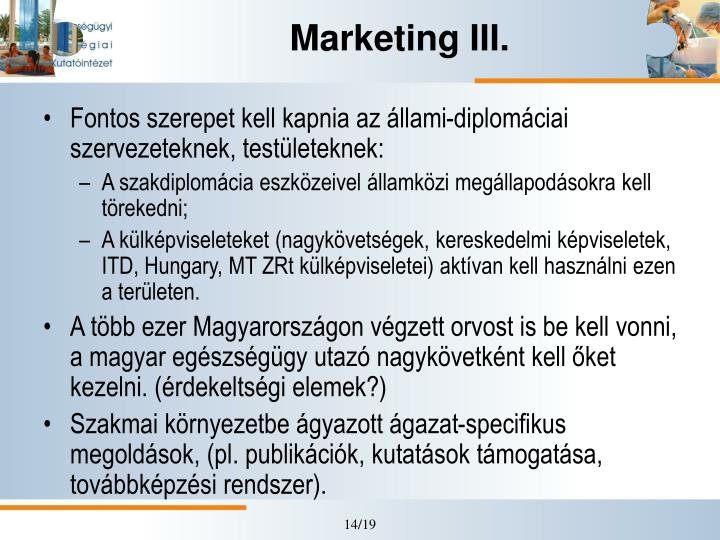 Marketing III.