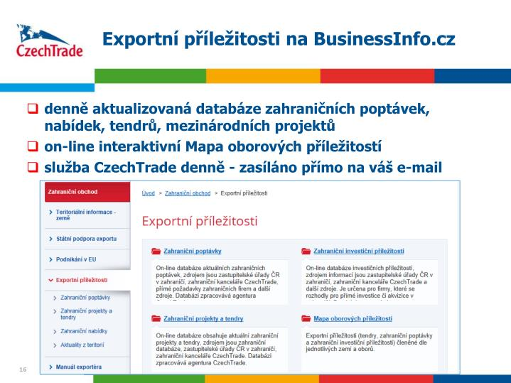Exportní příležitosti na BusinessInfo.cz
