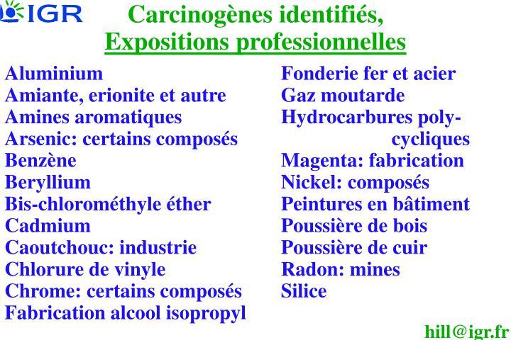 Carcinogènes identifiés,