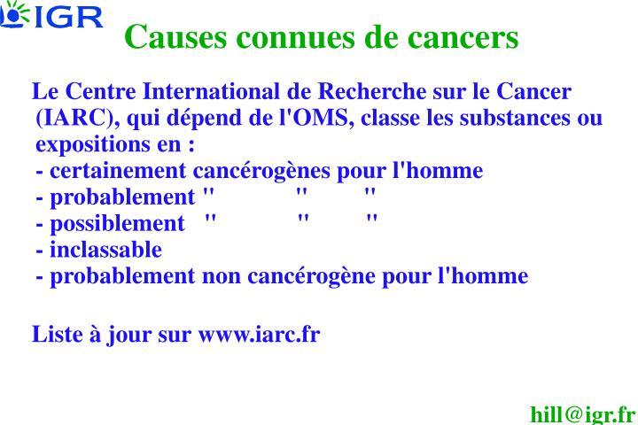 Causes connues de cancers