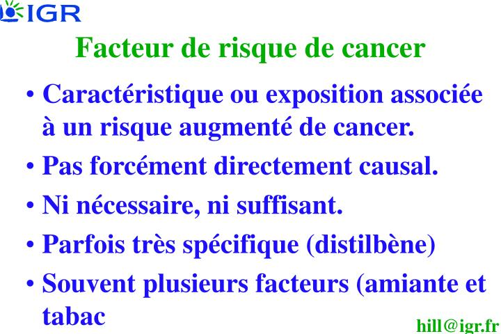 Facteur de risque de cancer