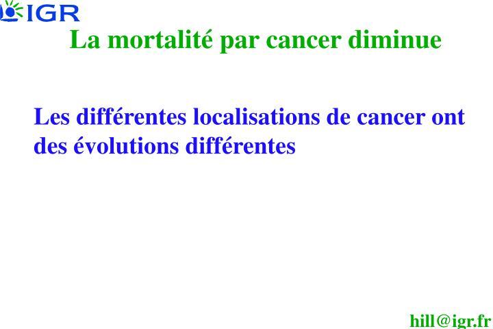 La mortalité par cancer diminue