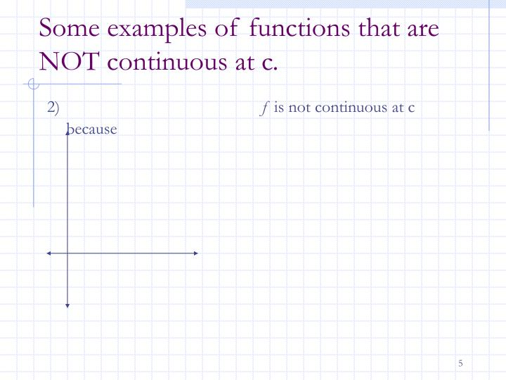 Some examples of functions that are NOT continuous at c.
