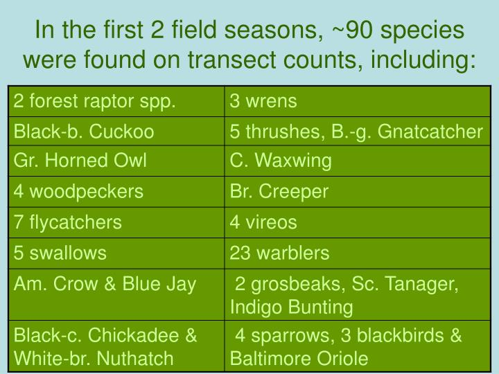 In the first 2 field seasons, ~90 species were found on transect counts, including: