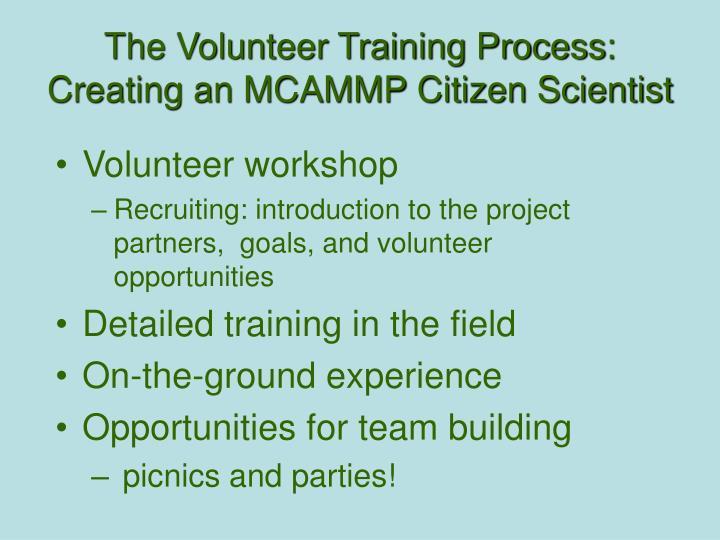 The Volunteer Training Process: