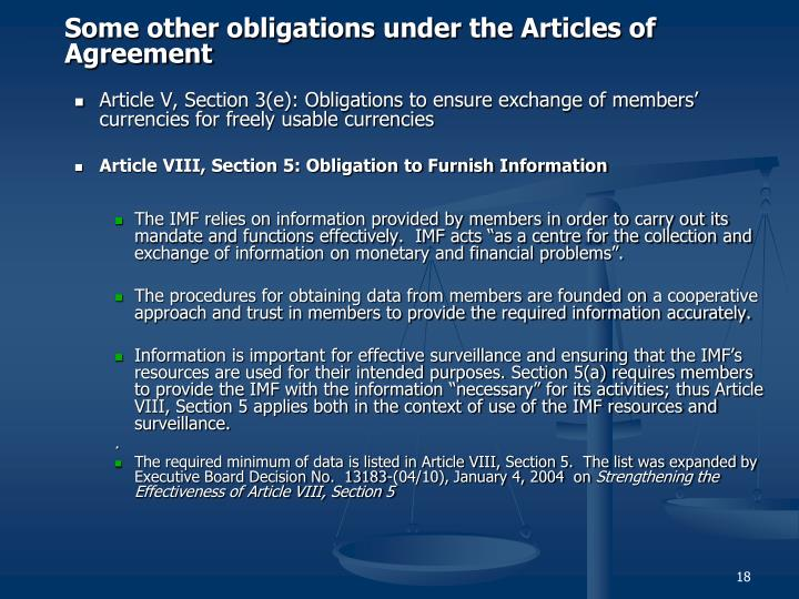 Some other obligations under the Articles of Agreement