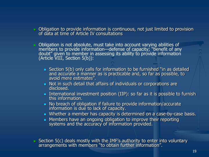 Obligation to provide information is continuous, not just limited to provision of data at time of Article IV consultations