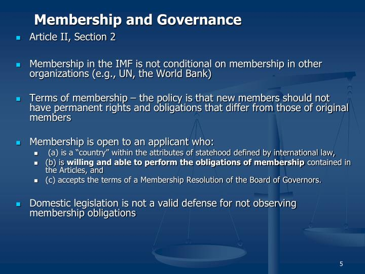Membership and Governance