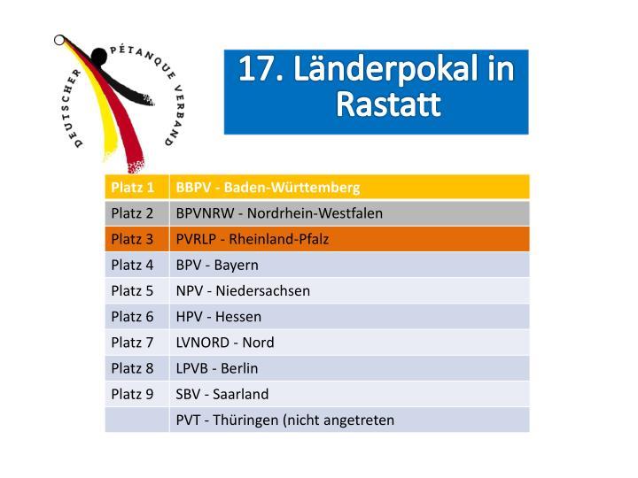 17. Länderpokal in Rastatt