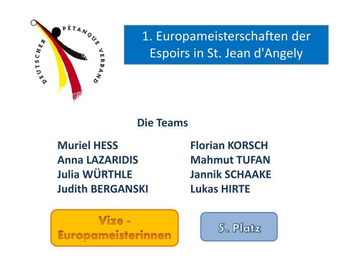 1. Europameisterschaften der Espoirs in St. Jean d'Angely