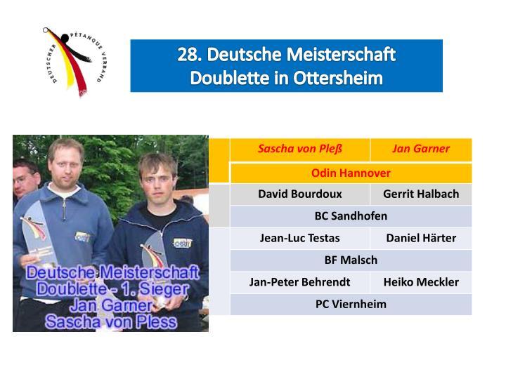 28. Deutsche Meisterschaft Doublette in Ottersheim